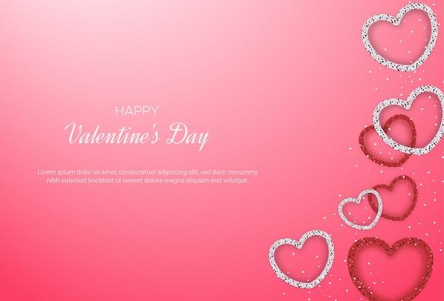 Valentine's day background with love glitter forming love lines