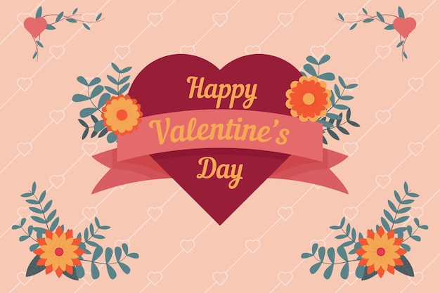 Valentine's day background with lovely heart and greeting