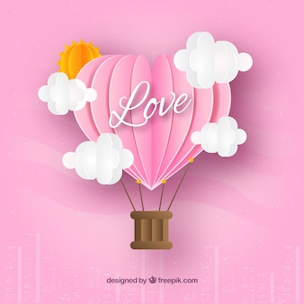 Valentine's day background with origami style