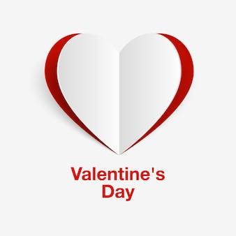 Предпосылка дня валентинки с бумажным сердцем. баннер на день святого валентина. дизайн поздравительной открытки на день рождения. день святого валентина фон с сердечками. векторная иллюстрация.
