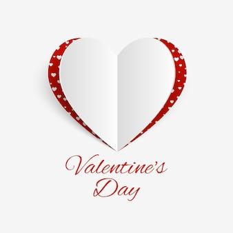 紙の心とバレンタインデーの背景。バレンタインデーのバナー。誕生日グリーティングカードのデザイン。心のバレンタインデーの背景。