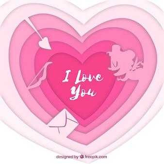 День святого валентина фон с бумажным сердцем