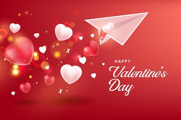 バレンタインデーの背景。紙飛行機付き