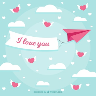 Valentine's day background with paper plane