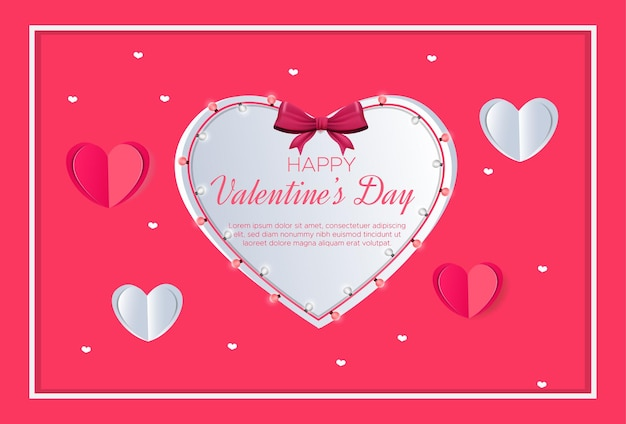 Valentine's day background with paper style