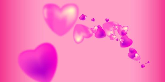 발렌타인 데이. 분홍색과 보라색 하트와 배경입니다.