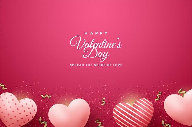 День святого валентина фон с розовыми воздушными шарами на красном фоне.