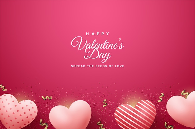 Valentine's day background with pink balloons on red background.
