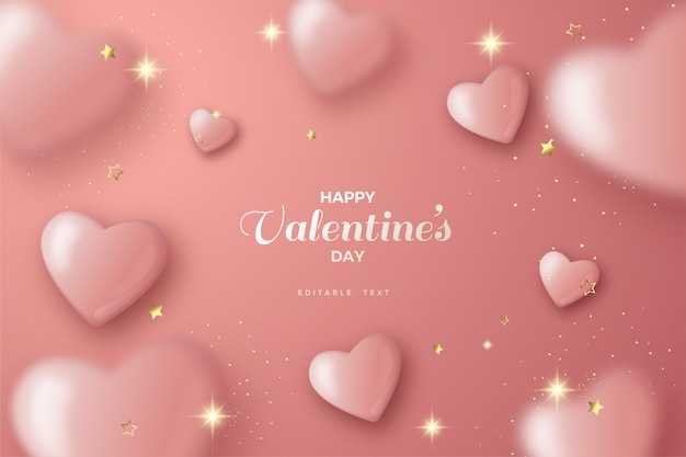 Valentine's day background with pink blur balloons.