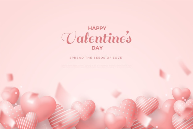 Valentine's day background with pink love balloons on white background.