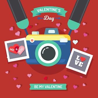 ポラロイドカメラでバレンタインデーの背景