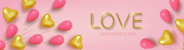Valentine's day background with realistic balloons pink and gold in shape hearts