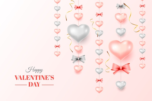Valentine's day background with realistic decorative hearts