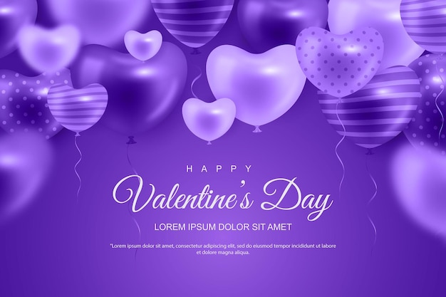 Valentine's day background with realistic heart balloon