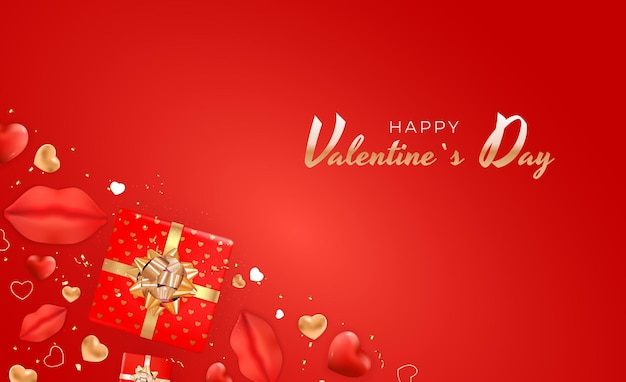 Valentine's day background  with realistic lips and heart.