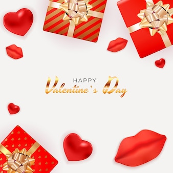 Valentine's day background  with realistic lips and hearts, gift box.