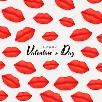 現実的な唇とバレンタインデーの背景。