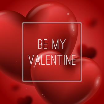 붉은 심장 baloon 발렌타인 배경입니다.