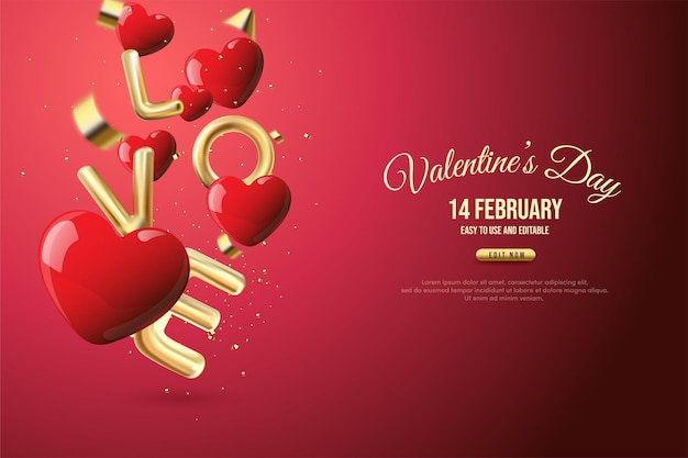 Valentine's day background with red love balloons in gold lettering.