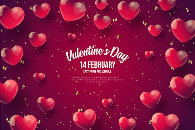 Valentine's day background with red love balloons scattered around.