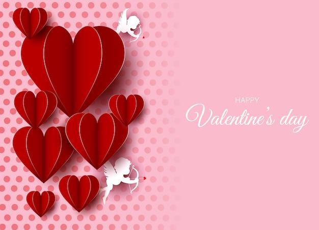 赤い紙風船と天使のバレンタインデーの背景。 2月14日の図