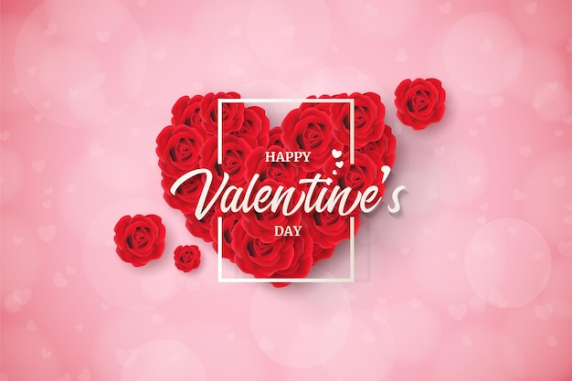 Valentine's day background with  red rose.