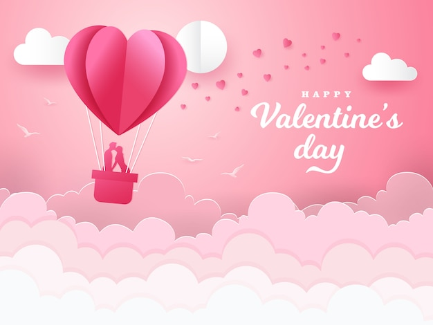 Valentine's day background with romantic couple kissing and standing inside a basket of an air balloon. paper cut style vector illustration