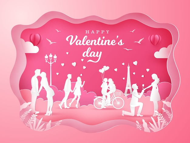 Valentine's day background with romantic couples in love on pink