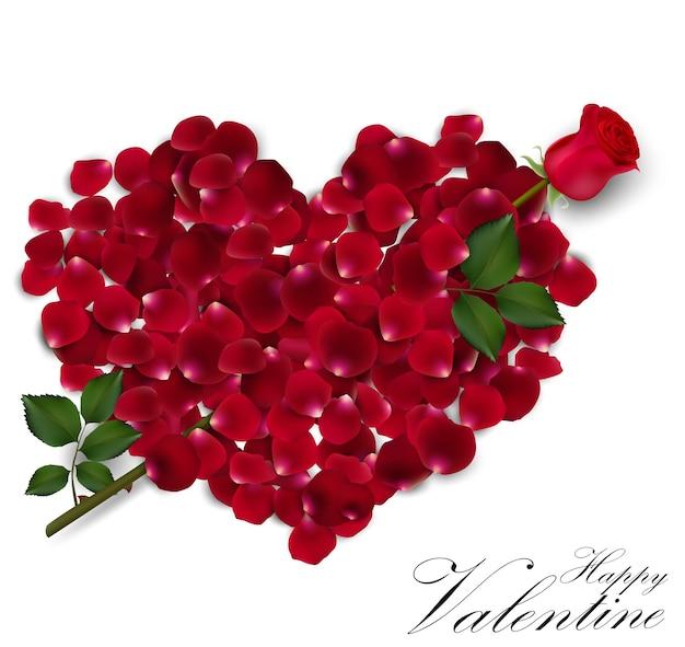 День святого валентина фон с розовыми лепестками сердца