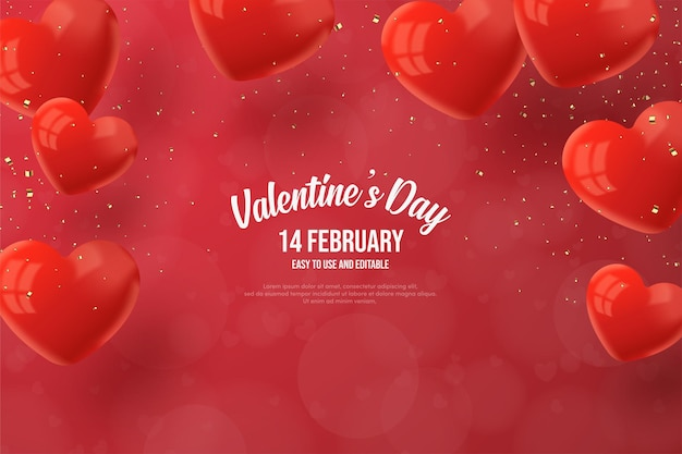 Valentine's day background with shiny red love balloons.
