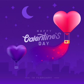 Valentine's day background with silhouette city and heart shaped balloons.