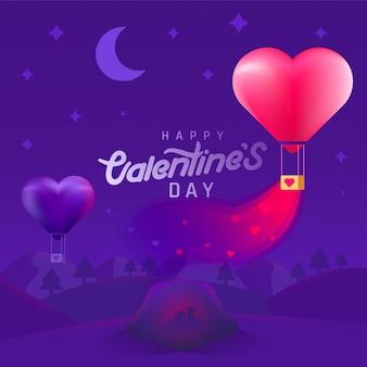 Фон дня святого валентина с парой силуэта и воздушными шарами в форме сердца. пары в кемпинге.