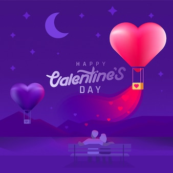 Valentine's day background with silhouette couple and heart shaped balloons.