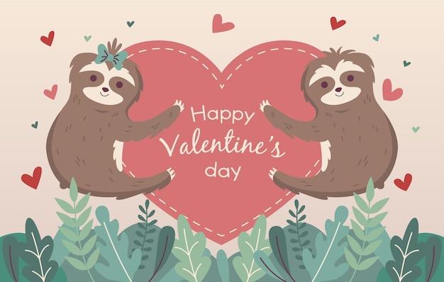나무 늘보와 하트 발렌타인 배경