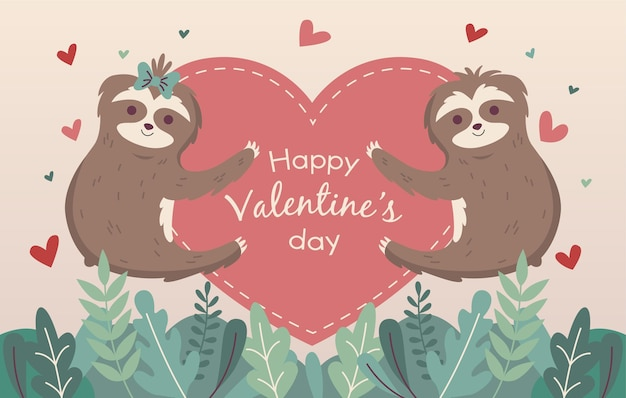 Valentine's day background with sloths and hearts