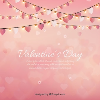 Valentine's day background with string lights