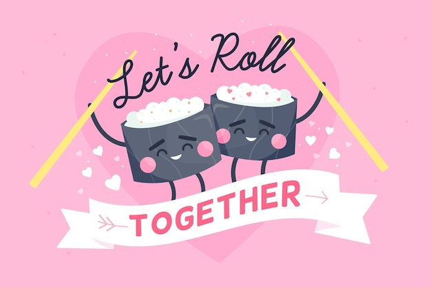 Valentine's day background with sushi rolls