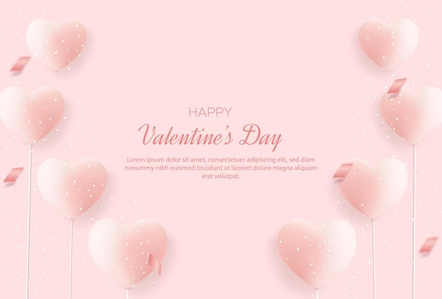 Valentine's day background with sweet love balloons
