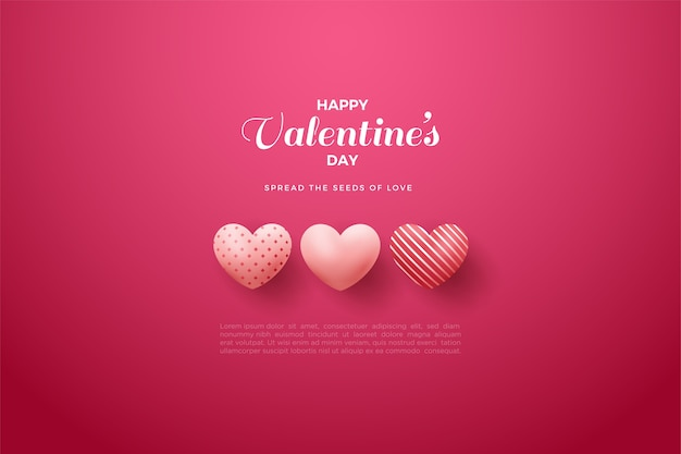 Valentine's day background with three pink balloons on a red background.