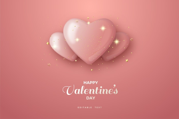 Valentine's day background with three  pink balloons.