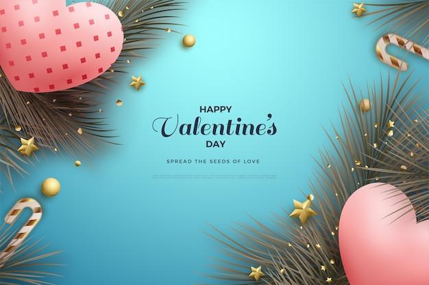 Предпосылка дня святого валентина с двумя воздушными шарами любви 3d.