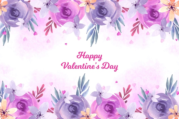 Valentine's day background with watercolor flowers