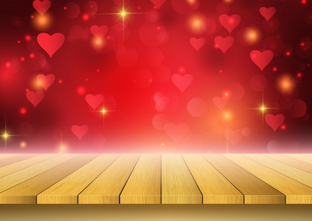 Valentine's day background with wooden table looking out to hearts design