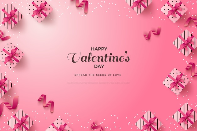 Valentine's day background with writing around gift boxes and pink ribbons.
