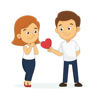 若いカップルとバレンタインデーの背景