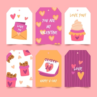 Valentine's day badge collection in flat design
