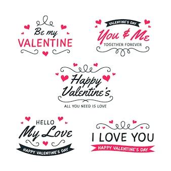 フラットなデザインのバレンタインバッジコレクション