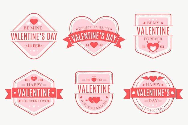 フラットなデザインのバレンタインデーのバッジコレクション