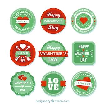 Коллекция значков дня святого валентина
