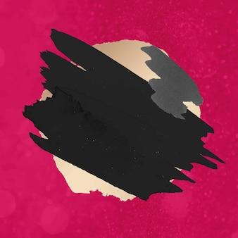 Valentine's day badge sticker, black pink brush stroke texture vector